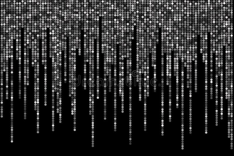Schwarzweiss-Tupfen auf schwarzem Hintergrund, in der Matrixart stock abbildung