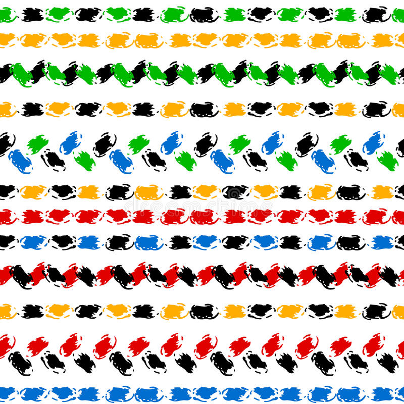 Schwarzweiss-- und bunte handgemalte Sparren- und Stichverzierung fasst nahtloses Muster des Schmutzes, Vektor ein lizenzfreie abbildung