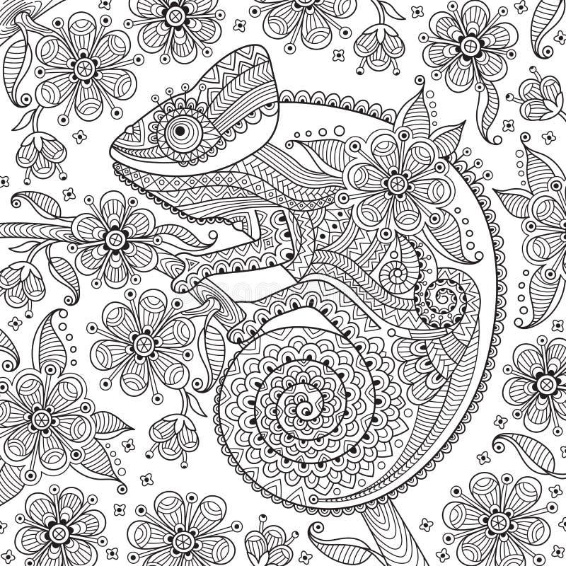 schwarzweissvektorillustration mit einem chamäleon in den