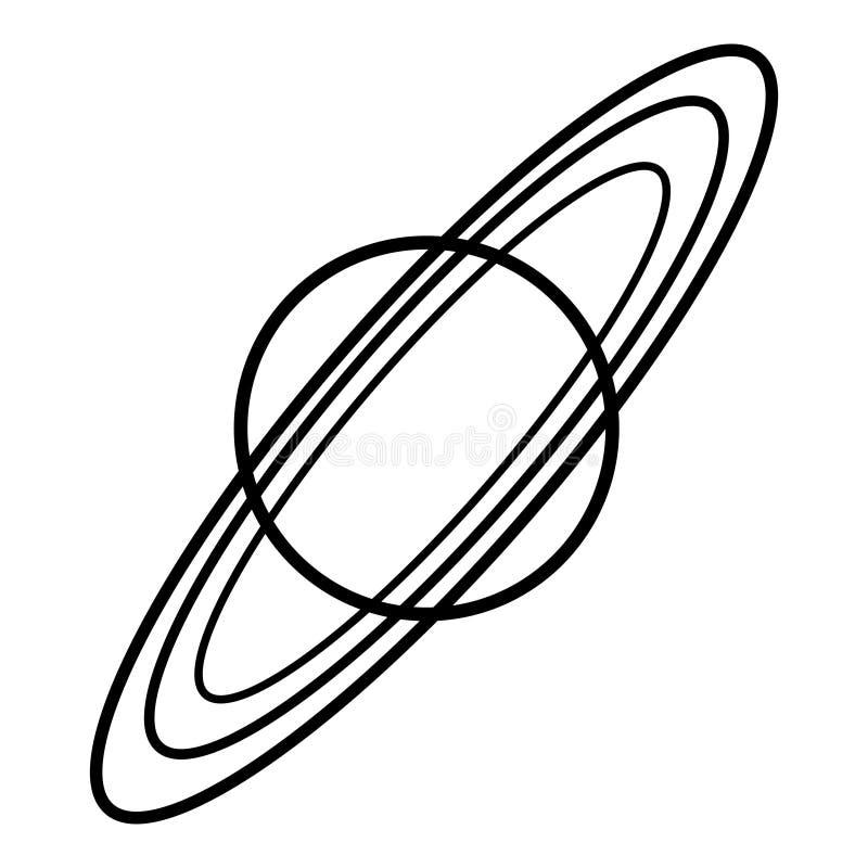 Schwarzweiss-Vektorillustration von Saturn mit Ringen stock abbildung