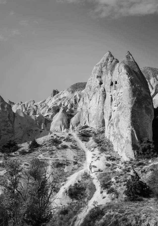 Schwarzweiss von den alten Höhlenhausruinen in Cappadocia stockbild