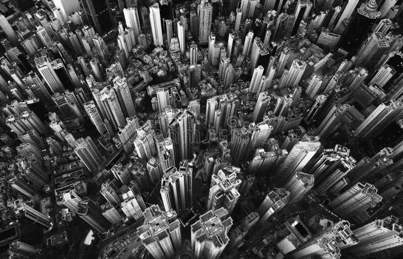 Schwarzweiss von der Vogelperspektive von Hong Kong Downtown finanziell stockfoto