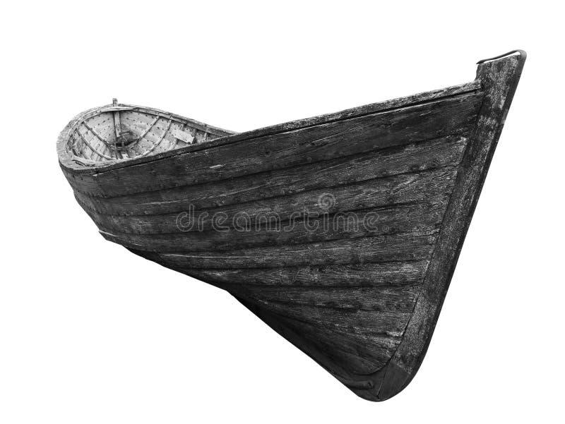 Schwarzweiss-Vorderansicht eines alten Fischenholzbootes stockbilder
