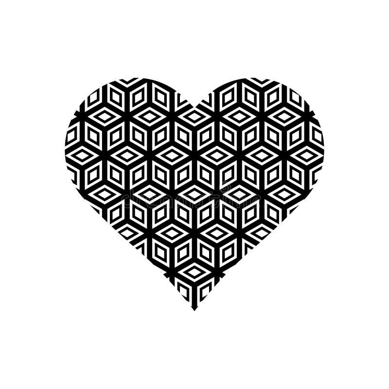 Schwarzweiss-Würfelmuster auf Herzsymbol vektor abbildung