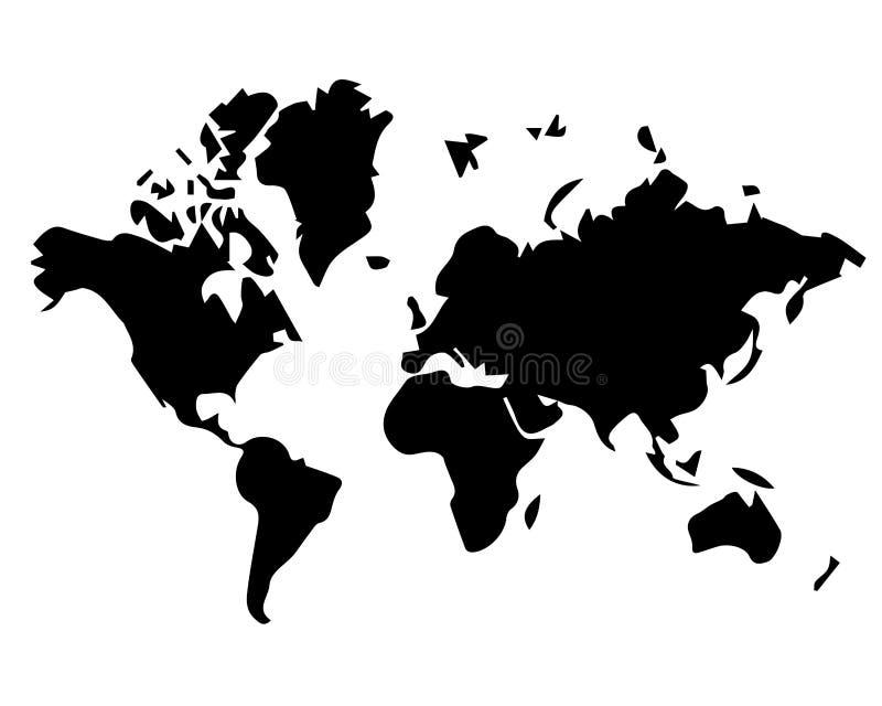 Schwarzweiss-Weltkarte lizenzfreie abbildung