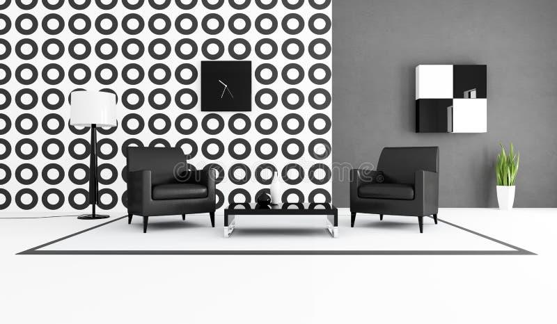 Schwarzweiss-Wohnzimmer stock abbildung