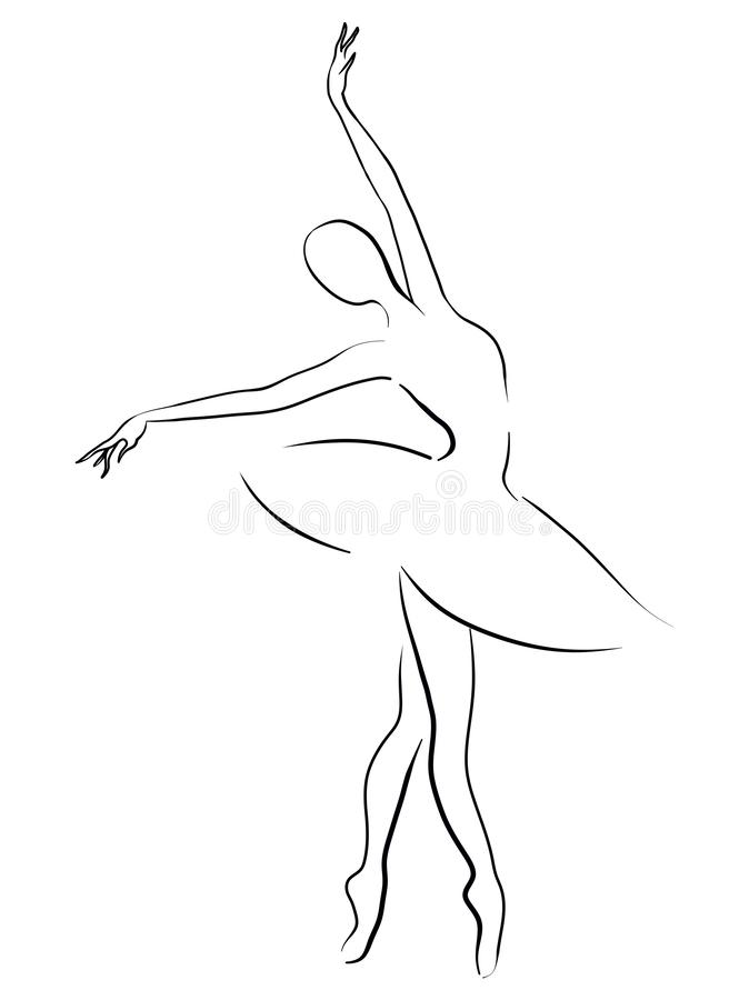 Schwarzweiss-Zeichnung einer tanzenden Ballerina lizenzfreie stockbilder