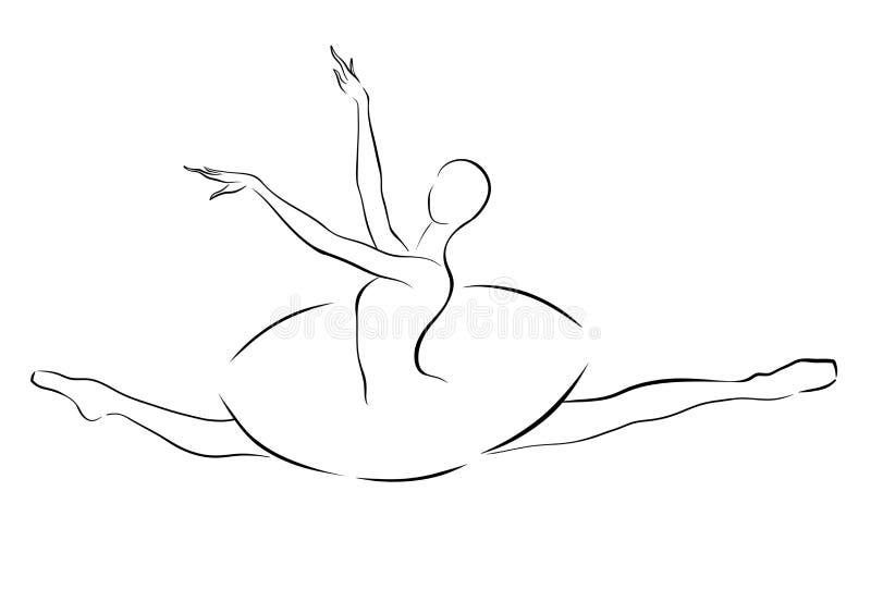 Schwarzweiss-Zeichnung eines Ballerinaspringens stockfotografie