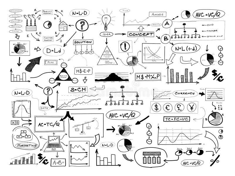 Schwarzweiss-Zeichnung vieler verschiedenen Geschäftselemente flosse lizenzfreie abbildung