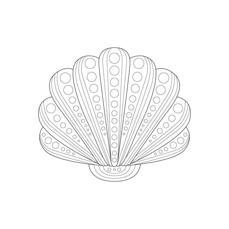 Schwarzweiss--Zentangle Malbuch-Illustration Clam Shell Sea Underwater Nature Adults stock abbildung
