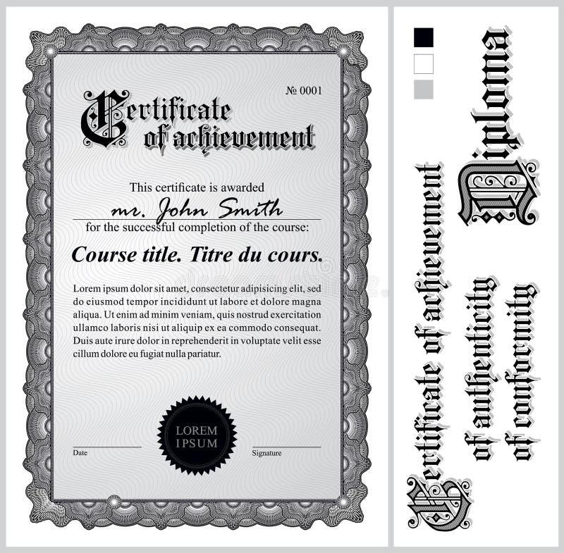 Schwarzweiss-Zertifikat schablone vertikal vektor abbildung