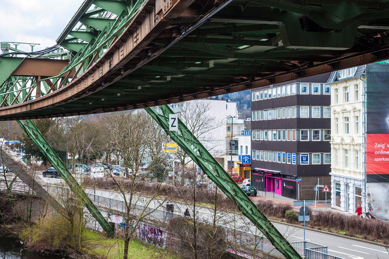 Schwebebahn floating tram. WUPPERTAL, GERMANY - APRIL 13: View of the Schwebebahn floating tram on April 13, 2013 in Wuppertal, Germany. This train track was stock image