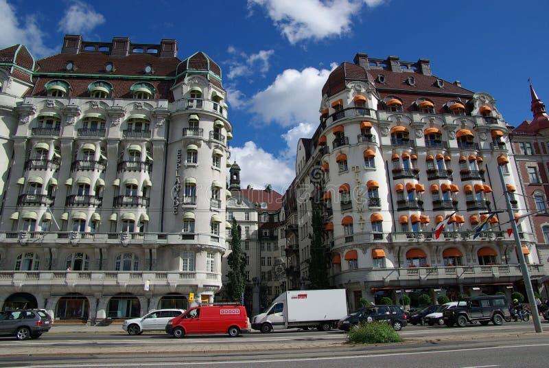 Schweden, Damm mit Gebäuden stockfoto