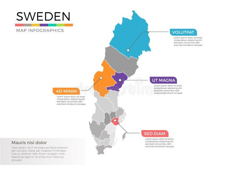 Schweden Karte Regionen.Karte Von Schweden Mit Regionen Vektor Abbildung