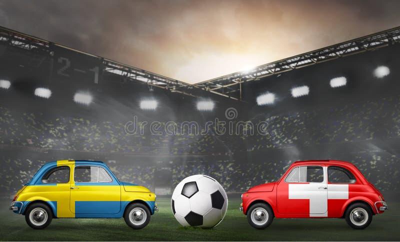 Schweden- und Schweiz-Autos auf Fußballstadion stockfoto