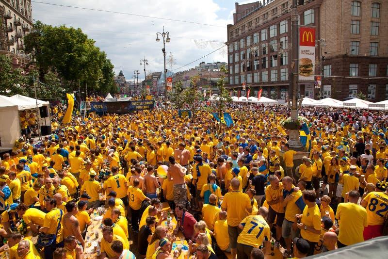 Schweden und ukrainische Gebläse kamen an lizenzfreie stockfotos