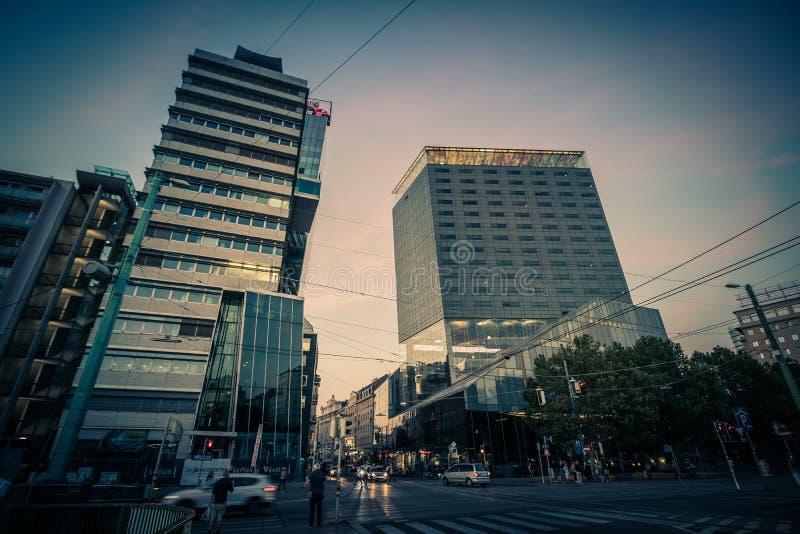 Schwedenplatz - Sverige fyrkant, Wien, Österrike fotografering för bildbyråer