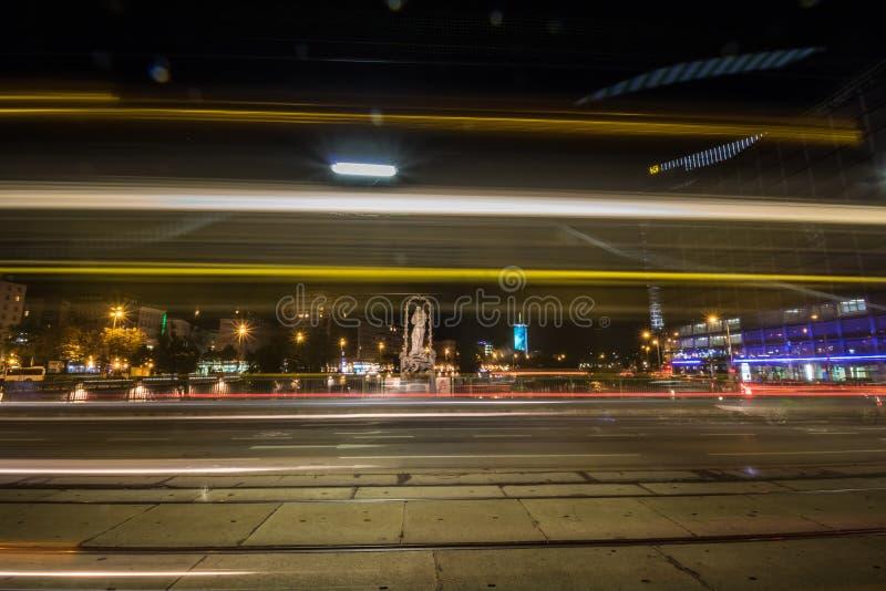 Schwedenplatz - Sverige fyrkant, Wien, Österrike royaltyfria foton