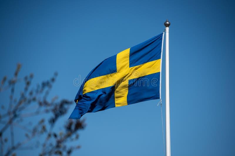 Schwedische Flagge auf einem Flaggenpfosten stockbilder