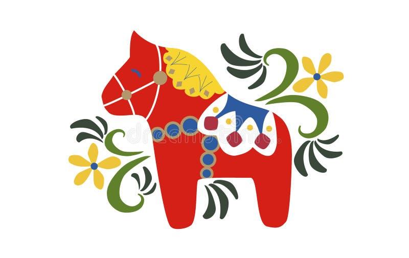 Schwedische Völker Art Dala Horse vektor abbildung