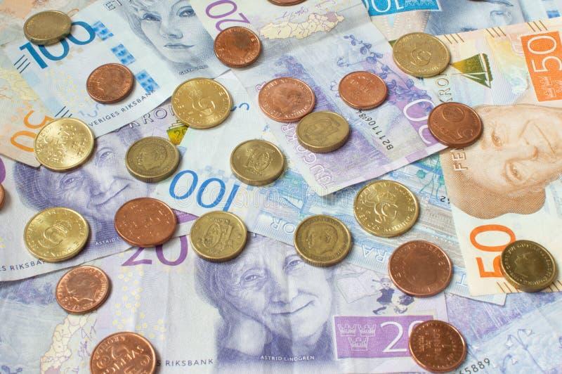 Schwedische Währung, Kronen, Münzen und Rechnungen stockfotos