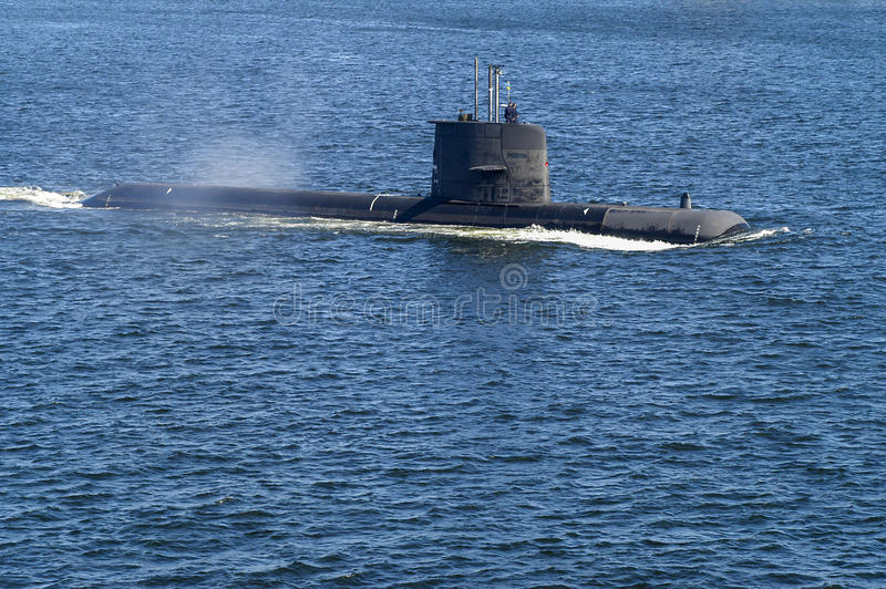 Schwedisches Angriffsunterseeboot HMS Uppland lizenzfreie stockfotos