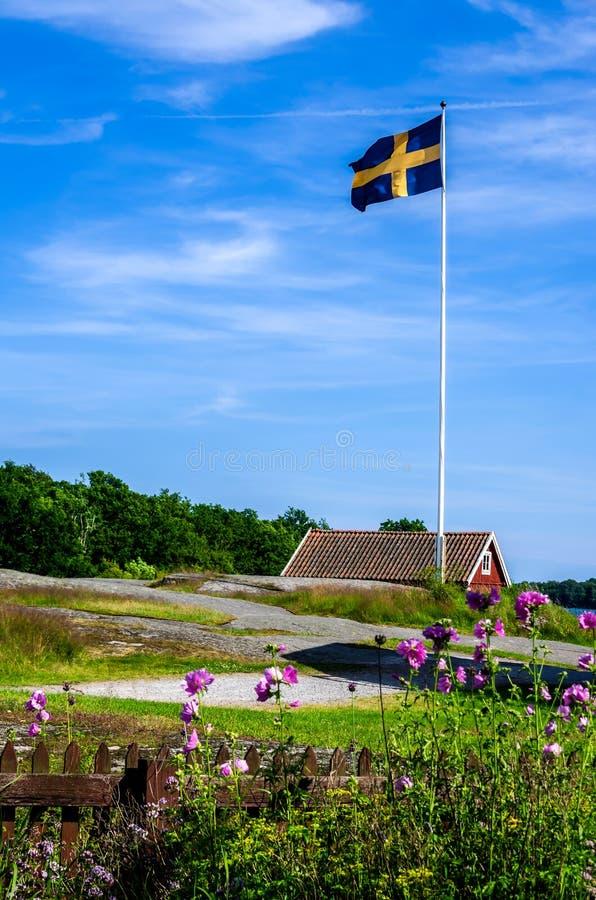 Schwedische Flagge stockbild