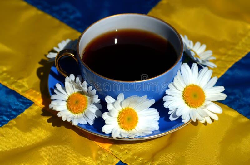 Schwedisches fika oder Kaffee mit schwedischer Flagge lizenzfreies stockbild