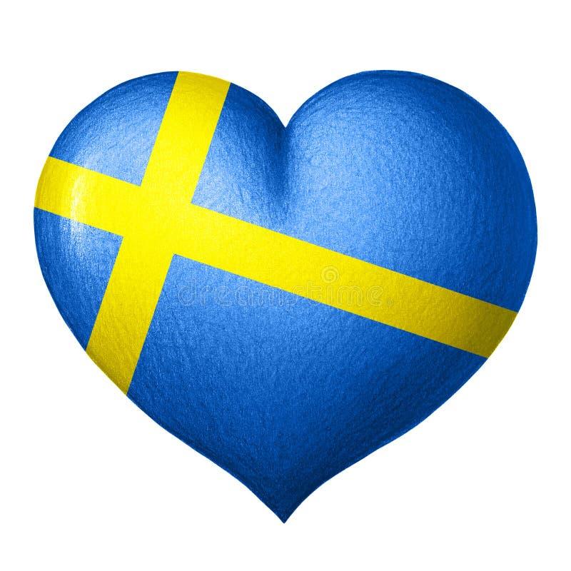 Schwedisches Flaggenherz lokalisiert auf weißem Hintergrund Zeichnung des Baums auf einem weißen Hintergrund lizenzfreies stockbild
