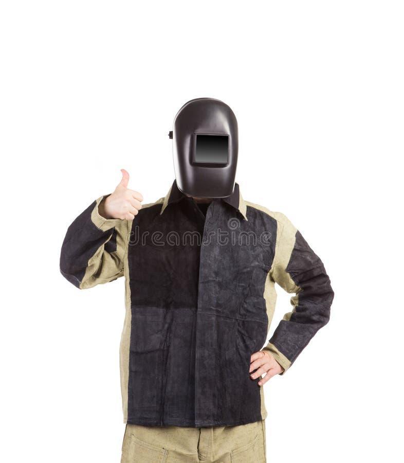 Schweißer in der Arbeitskleidungsklage lizenzfreie stockbilder