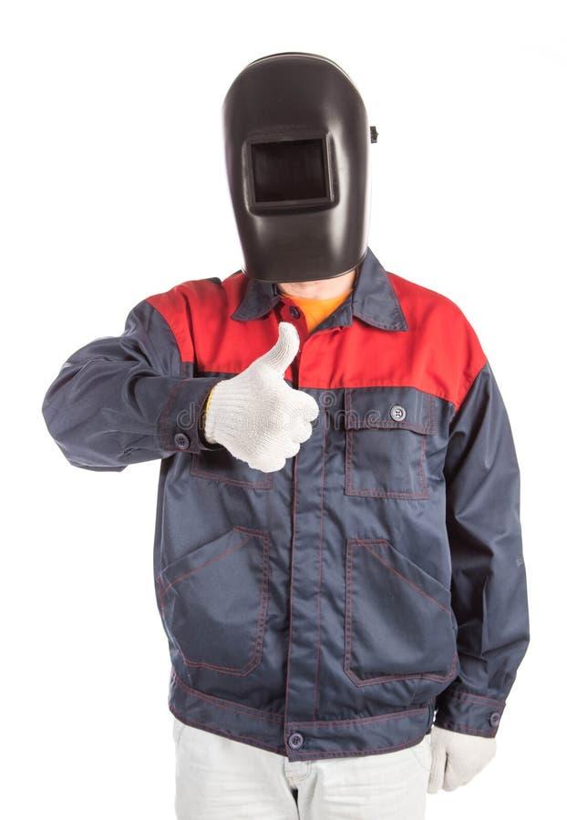 Schweißer in der Arbeitskleidungsklage lizenzfreies stockbild