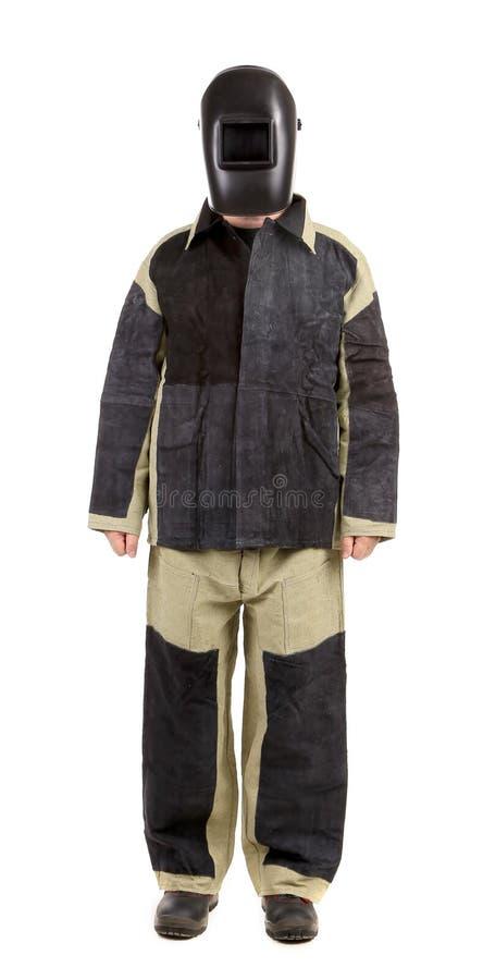 Schweißer in der Arbeitskleidungsklage. Front. stockfotos