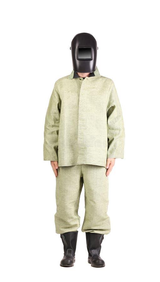 Schweißer in der Arbeitskleidungsklage mit Maske frontseite stockbild