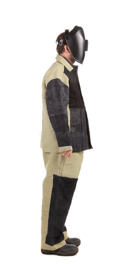 Schweißer in der Arbeitskleidungsklage.  Seite stockfotos
