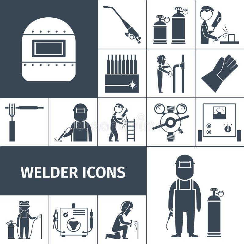 Schweißer Icons Black Set vektor abbildung