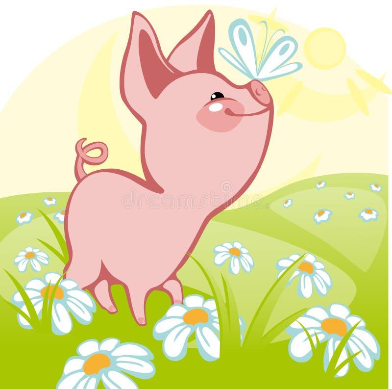 Schwein auf einer Wiese. stock abbildung
