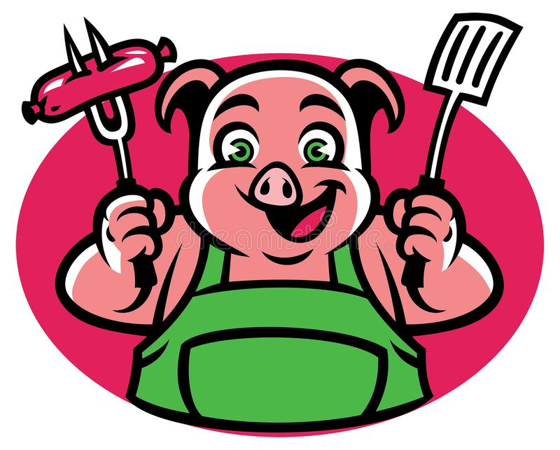 Schwein-Charakter, der die bbq-Gabel und -wurst hält vektor abbildung