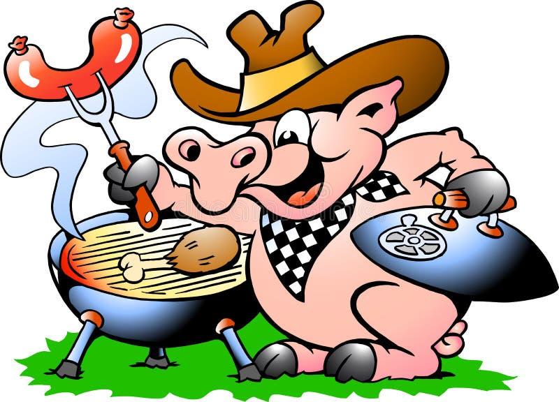 Schwein, das BBQ steht und herstellt stockbilder