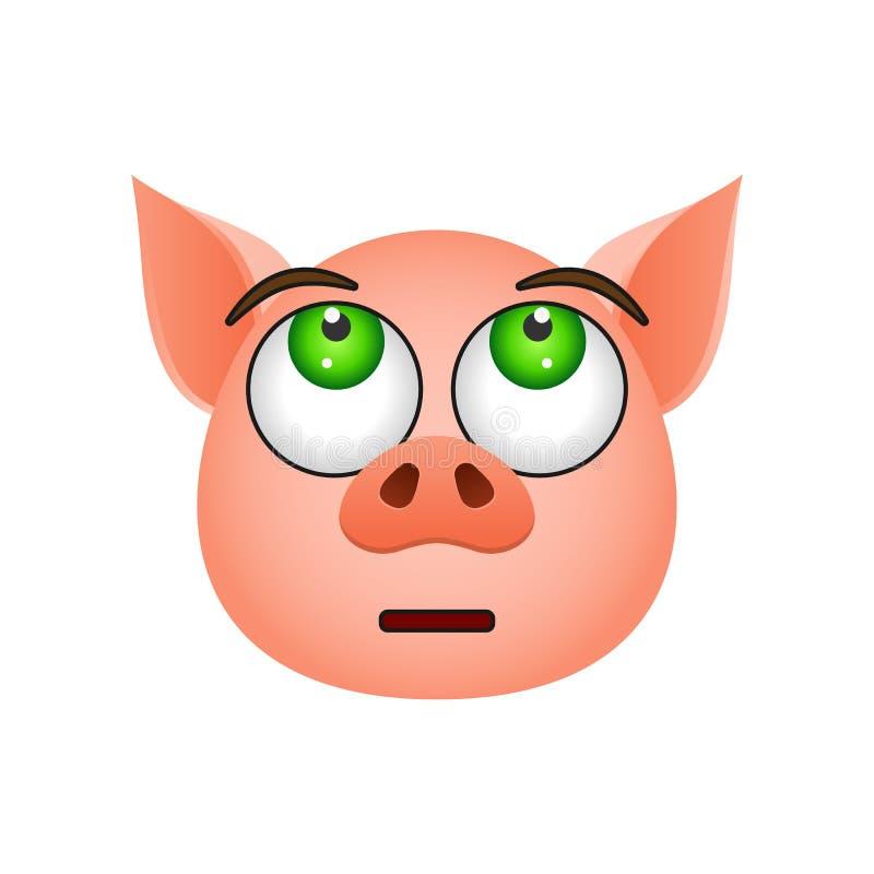 Schwein in enttäuschter emoji Ikone Element der Symbolikone des neuen Jahres für mobile Konzept und Netz Apps Ausführliches Schwe vektor abbildung