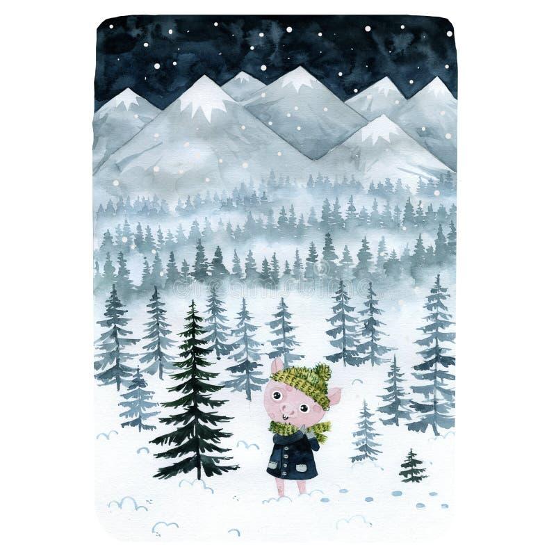 Schwein im Winter im Wald mit den Bergen stock abbildung