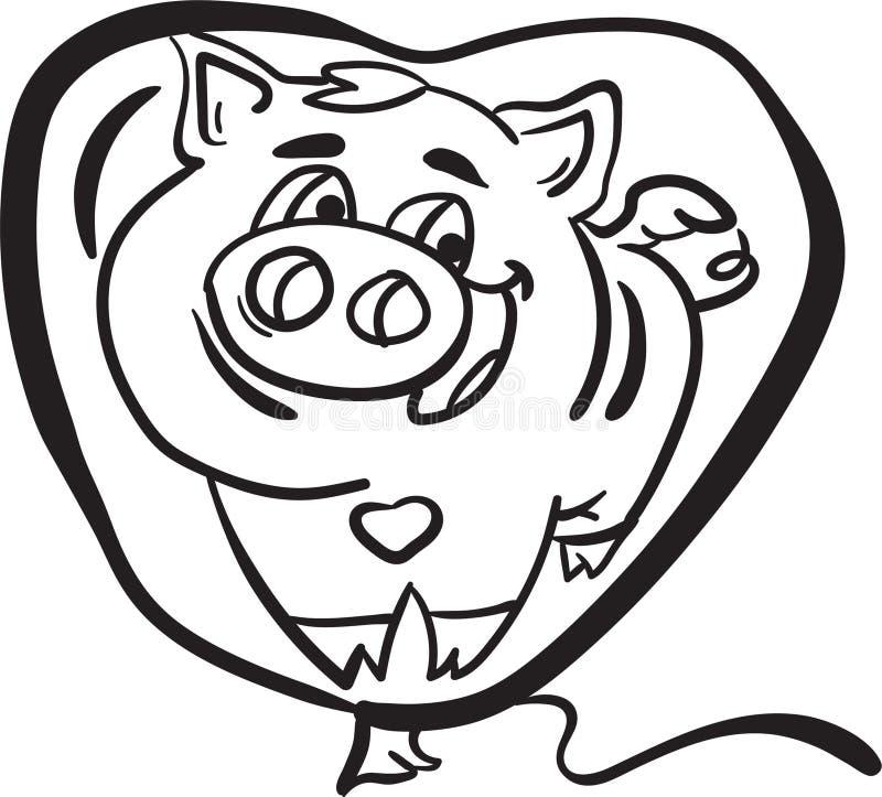 Schwein innerhalb des Färbungsseitentieres des Ballons für Kind stockfoto