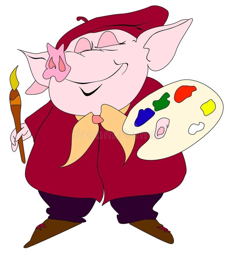 Schwein-Künstler stock abbildung