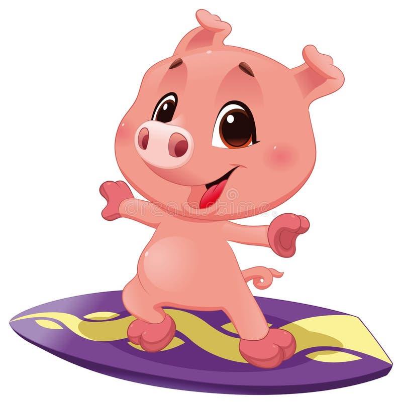 Schwein mit Brandung stock abbildung