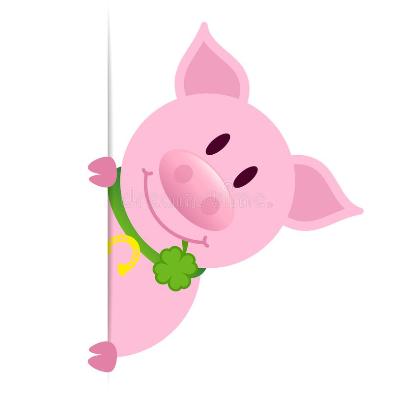 Schwein mit Klee-Blatt-vertikalem Fahnen-Recht vektor abbildung