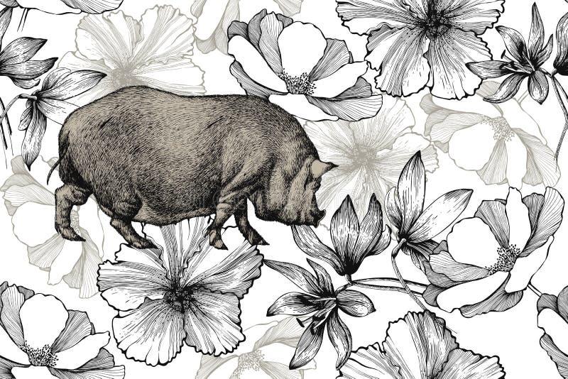 Schwein mit Rosen, Schneeglöckchen und Hibiscus, nahtloses Muster Von Hand gezeichnet, Vektorillustration lizenzfreie abbildung
