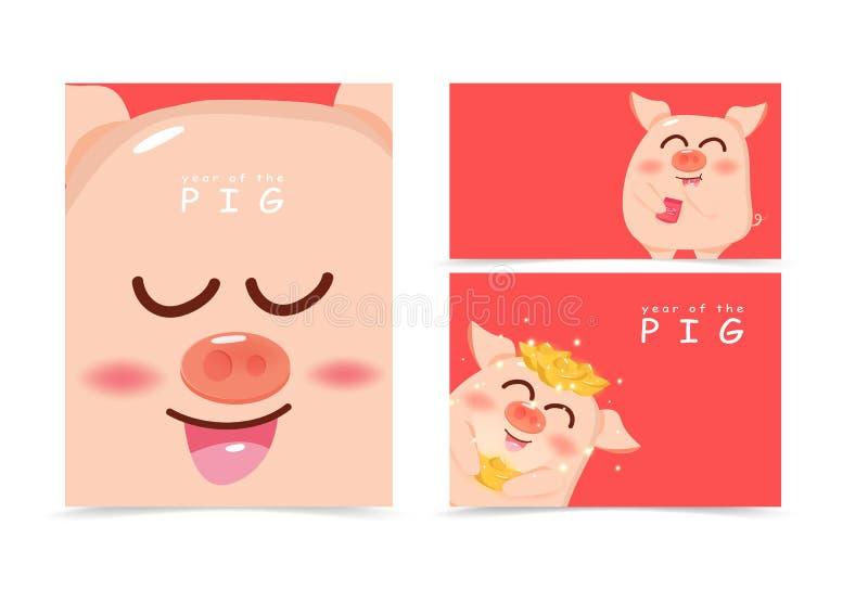 Schwein, nettes Karikaturabdeckungsbuch, das A4 Plan, Fahne, Chinesisches Neujahrsfest, Jahr des Schweins mit Goldglänzender Hint vektor abbildung