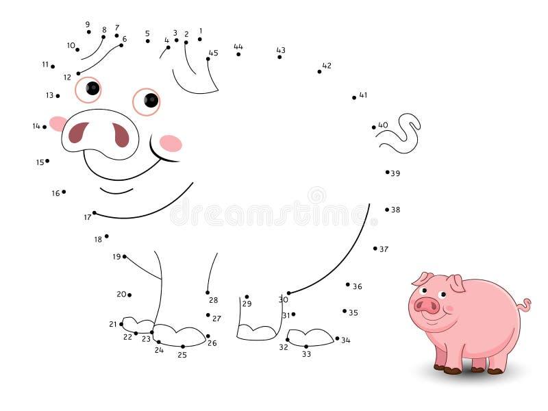 Schwein schließen die Punkte an und färben stock abbildung
