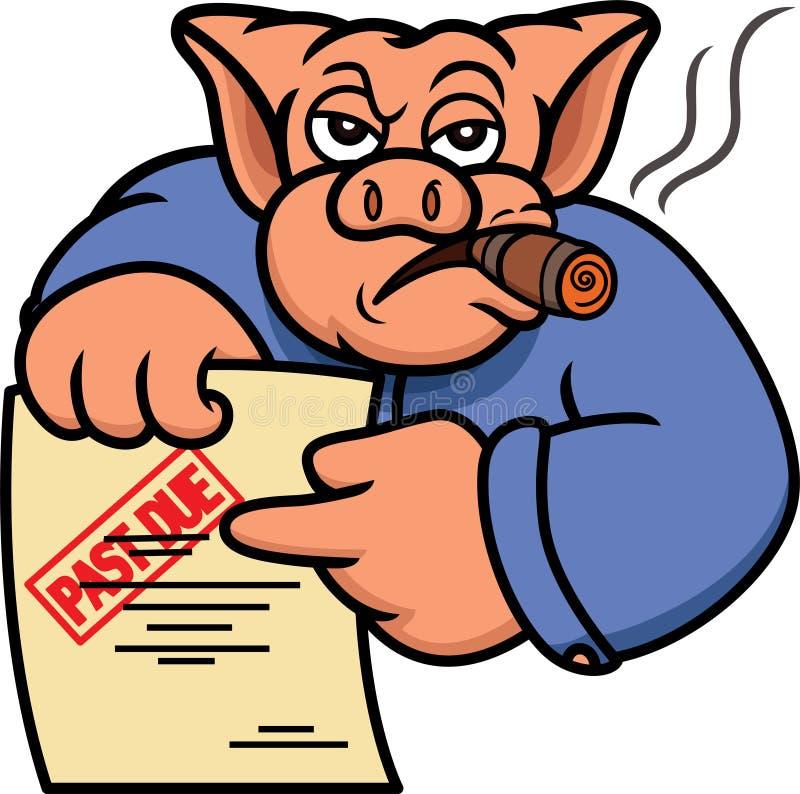 Schwein-Schuldeneintreiber oder Gläubiger mit überfälliger Aussagen-Karikatur stockfotografie