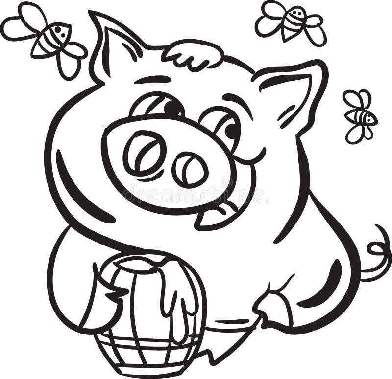 Schwein-und Bier-Farbton-Seitentier für Kind stockbilder