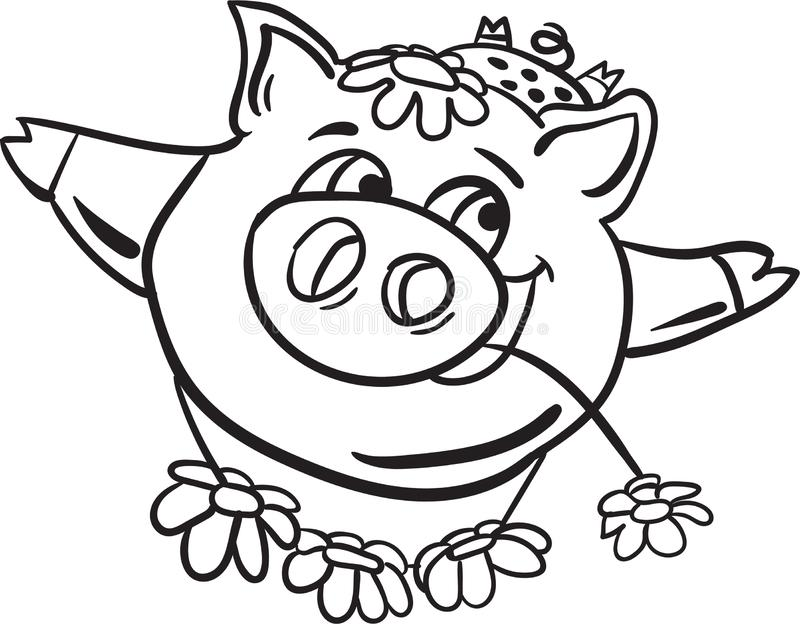 Schwein- und Himmeltauchfärbungsseite für Kinder lizenzfreie stockfotografie